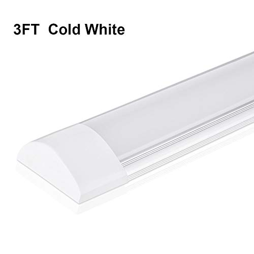 LED Batten Light Tube 3FT, 30W LED Ceiling Light with 3600LM 6500K 130° Illumination for Office Living Room Bathroom Kitchen Garage Warehouse Shop Basement Workshop Cabinet by Ankishi (Cold White)