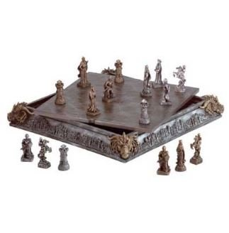SKB Family New Medieval Chess Set 32 Finely Detailed Chessmen Knights Dragons Mystical Crafted Board Polyresin