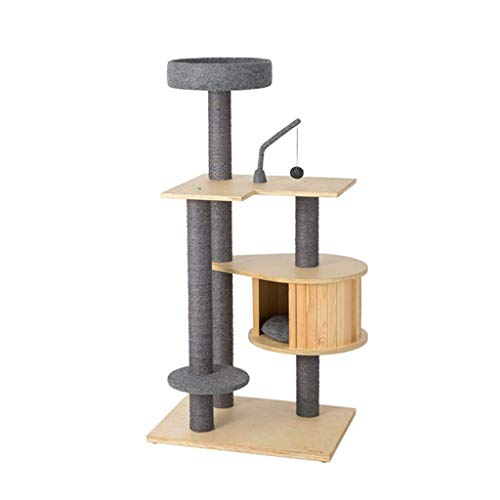 FTFDTMY Massive Wood Cat Klettergerüst, Villa Cat House Kratzbaum Einteilige Cat Jumping Platform Cat Scratch Column…
