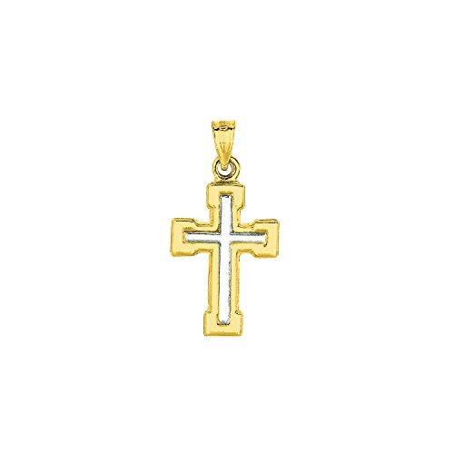 High Polish Cross Pendant 14k Two Tone Gold