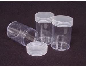 Whitman//H.E Harris Quarter Coin Storage Tubes Round Clear Plastic with Screw on Tops for Quarter Quantity of 10 Tubes