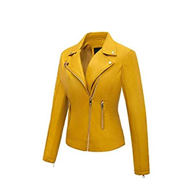 Giolshon Faux Leather Casual Short Jacket for Women, Moto Coat for Spring Fall and Winter at Women's Coats Shop