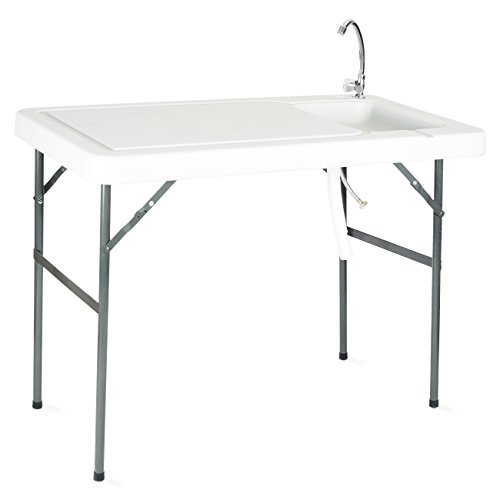 Onebigoutlet Folding Portable Fish Fillet Hunting Cutting Table w/Sink Faucet BBQ Tailgate by Onebigoutlet