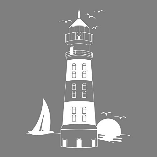 decalmile White Lighthouse Wall Stickers Sunset Seagull Sailboat Wall Decals Murals Peel and Stick Removable Vinyl Wall Art for Living Room Bedroom