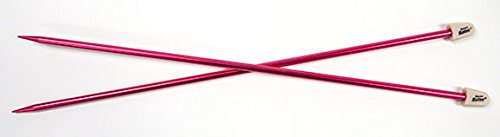 Susan Bates 14-Inch Silvalume Single Point Knitting Needle, 4.5mm, Rose