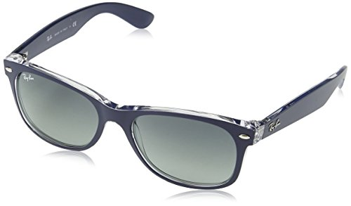 (Ray-Ban RB2132 New Wayfarer Sunglasses, Matte Blue On Transparent/Grey Gradient, 55 mm)