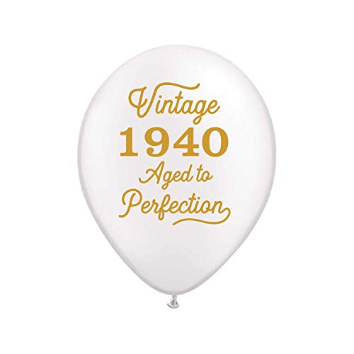 80th Birthday Balloons (Vintage 1940 White Balloons -80th Birthday Balloons - Set of 3-80th Birthday Decorations White and Gold -80th Birthday Party)