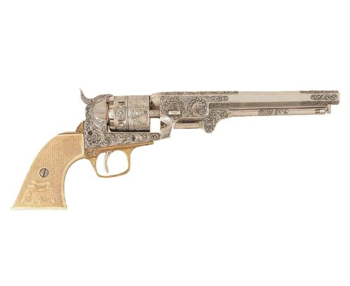 Denix 1851 Engraved Navy Revolver, Silver - Non-Firing Replica