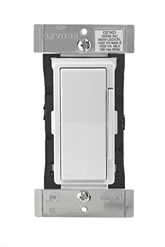Leviton DZ1KD-1BZ Decora Smart 1000W Dimmer with Z-Wave Technology, White/Light Almond, Repeater/Range Extender