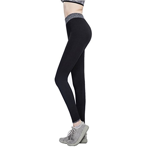 Edove Women Contrast Color Yoga Pants Running Leggings Ankle Tights Black S