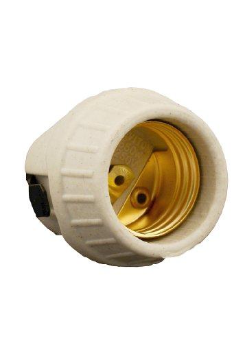 Leviton 8875 R50-0-000 1-Circuit 1-Piece Snap-in Lamp Holder, 660 W, Incandescent, Medium, Medium, White
