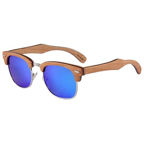 vidrios Madera de del de Hombres Marco Metal de Moda polarizados los del Medio Azul sol Gafas Brown Ultravioleta bambú los de de Color Gafas bambú la protección OqUwxZ5p0