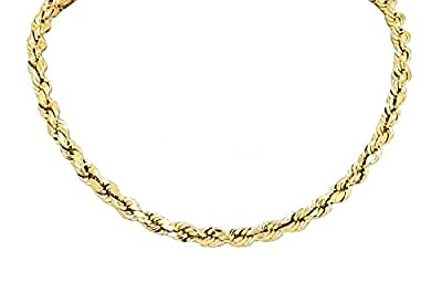 """Real Solid 14k Yellow Gold Diamond Cut Rope Chain 16"""" to 26"""", 3.0mm by GDIOnline"""