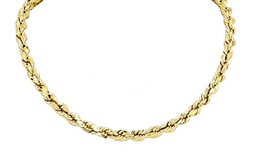 (Yellow Gold Diamond Cut Rope Chain Real Solid 14k 16