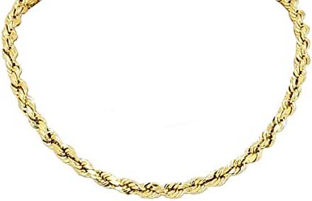 Real Solid 14k Yellow Gold Diamond Cut Rope Chain 22