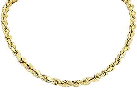 Real Solid 14k Yellow Gold Diamond Cut Rope Chain 18