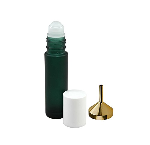 Perfume Studio0153~ Set of Three 10 ml Green Roll On Bottles and 1 Metal Perfume Oil Funnel to Help You Refill The Roller Bottles ()