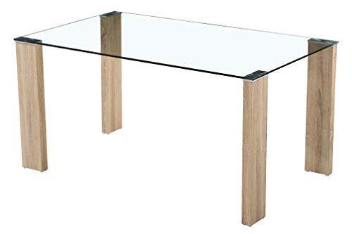 Sencilla y original mesa transparente con patas en acabado cambrian y colocación asimétrica.