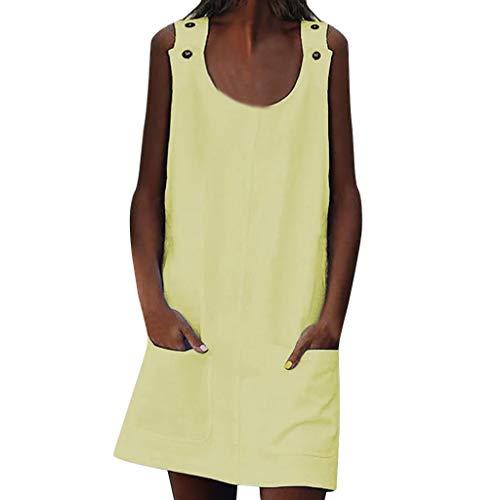SUNyongsh Women Dresses Crew Neck Shift Daily Button Plain Cotton Dresses Sleeveless Mini Dress Off Shoulder Casual Skirt Yellow