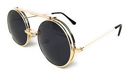 WebDeals - Round Flip Up Steampunk Flip-Up Metal Django Sunglasses (Gold, - Flip Glasses Up Round