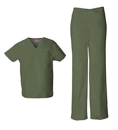 Dickies EDS Signature Unisex Scrubs Set (Top & Pant) (XX-Large, Olive)