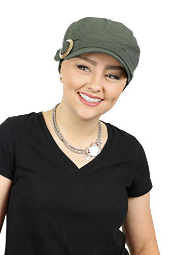 Women's Hat Linen Blend Military Cadet Cabbie Newsboy Cap for Small Heads Summer Visor Travel Olive ()