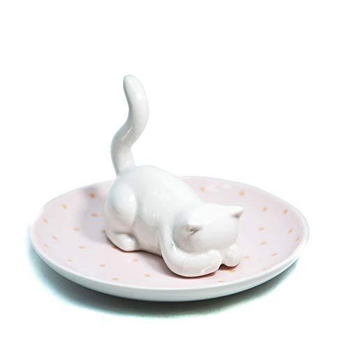 BigNoseDeer Cat Cute Jewelry Tray Ceramics Kitten Jewelry Dish,for Earring Necklace Rings Organizer Storage Desktop Home Decor Wedding Gift