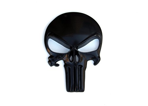 Tactical Freedom - Premium 3D Metal Decal / Sticker - Punisher Skull for Car, Truck and Motorcycle (Matte Black 5