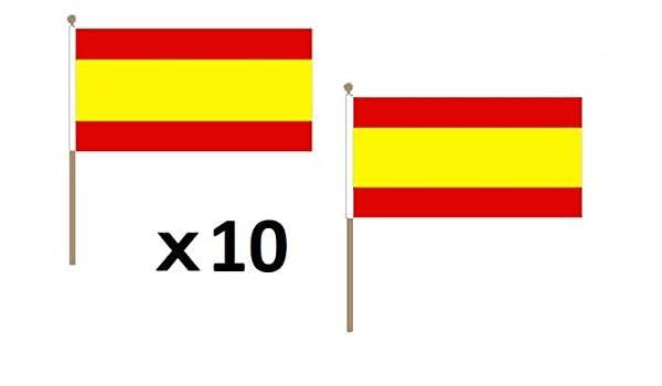 AZ FLAG Bandera de ESPAÑA SIN Armas 45x30cm con Palo de Madera - Lote de 10 Bandera ESPAÑOLA SIN Escudo 30 x 45 cm: Amazon.es: Jardín