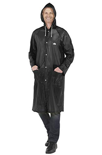 Wealers Emergency Adult Heavy Duty Lightweight PVC Trench Raincoat - Reusable| Portable| Compact| Adjustable Hood| Flap Pockets| Comes with a Small Carrying Bag (Black, Medium - Length: 44 inches)