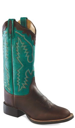Old West Turquoise Womens Vintage Leather Broad Square Toe Cowboy Boots 5 M