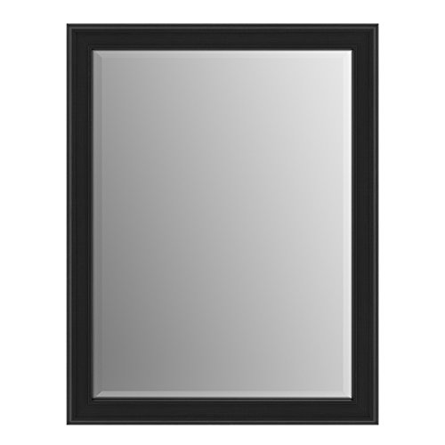 Delta Wall Mount 21 in. x 28 in. Small (S1) Rectangular Framed Flush Mounting Bathroom Mirror in Matte Black with TRUClarity Deluxe Glass by Delta