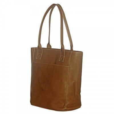 Piel Leather XL Laptop Tote Bag, Saddle