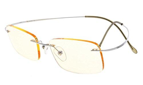 Eyekepper Titanium Rimless Computer Reading Glasses Readers Men Women Silver +1.00