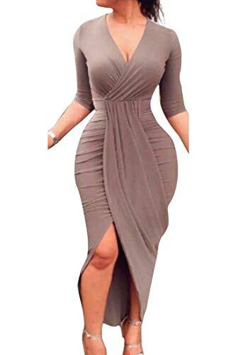 Clubwear Domple Increspato V Aderente A Marrone Irregolare Scollo Sexy Donne Vestito S5wqdaS