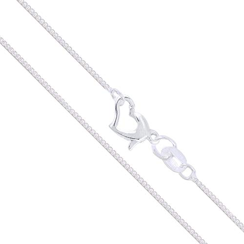 Sterling Silver Box Chain 1mm Solid 925 Italy Lightweight Wide Valentine's Day Love Heart Clasp Necklace 16
