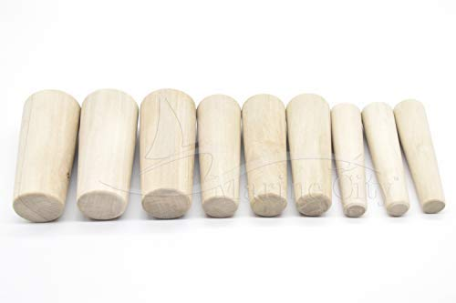 Marine City Tapered Conical Thru-Hull Soft Wood Plugs for Boat (Set of 9, 3 Different Sizes)