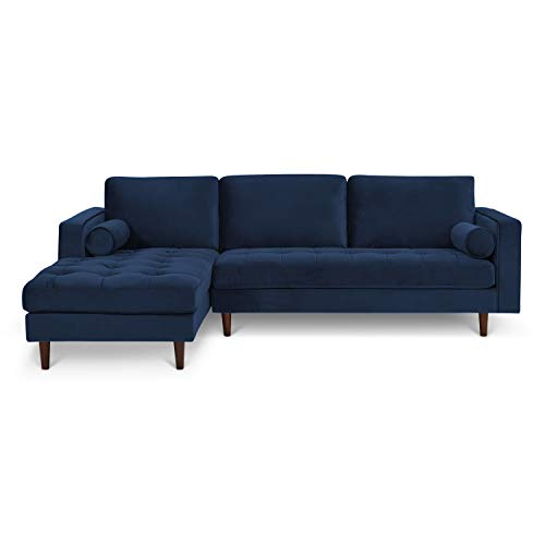 Poly and Bark LR-414-LS-BLU Inga Left Sectional Space Blue