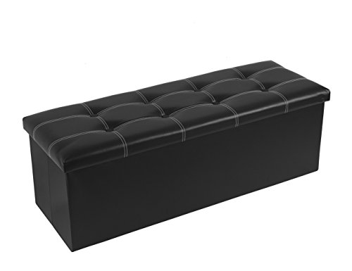 HollyHOME Foldable Storage Ottoman Rectangular Bench Footrest Seat With Tufted Design,Faux Leather, Black