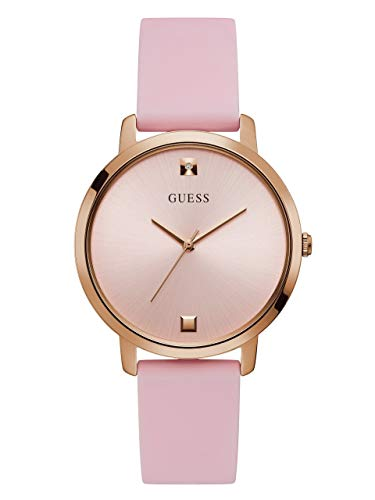 GUESS Comfortable Rose Gold-Tone + Pink Stain Resistant Silicone Watch with Genuine Diamond Accents. Color: Pink (Model: - Watch Pink Guess