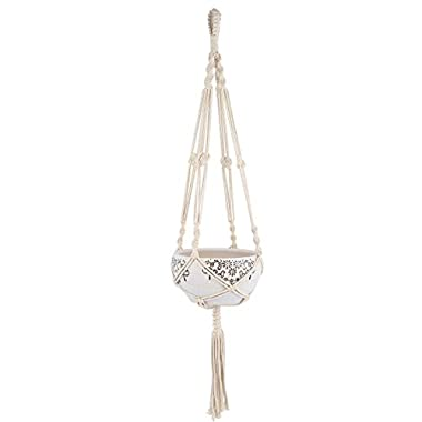 Mkono 1pcs Macrame Plant Hanger Heavy Duty Patio Balcony Deck Ceiling For Round Square Containers Pots Indoor Outdoor Decorative Plants--cotton rope