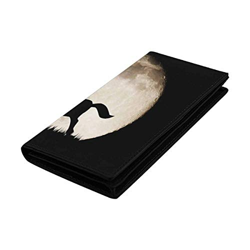 InterestPrint Women's Real Leather Magnetic Snap Wallet Clutch Silhouette Horse on Full Moon