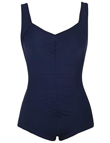 Mycoco Women's One Piece Bathing Suit Front Shirred Tummy Control Swimsuit Scoop Back Swimwear Navy US 14