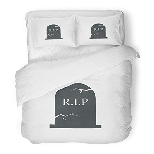 (Emvency Bedding Duvet Cover Set Full/Queen (1 Duvet Cover + 2 Pillowcase) Autumn Grave Halloween Simple Headstone Raven Sign Bury Cartoon Celebration Cemetery Hotel Quality Wrinkle and Stain)