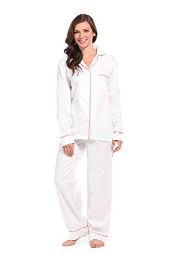 Malabar Bay Women's White with Pink Sateen Pajama Set Small White & Pink