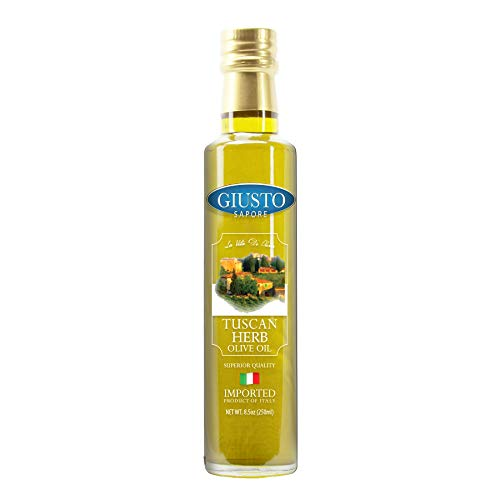 Giusto Sapore Tuscan Herb Italian Infused Extra Virgin Olive Oil 8.5oz - Premium Gluten Free Gourmet Brand - Imported from Italy and Family Owned