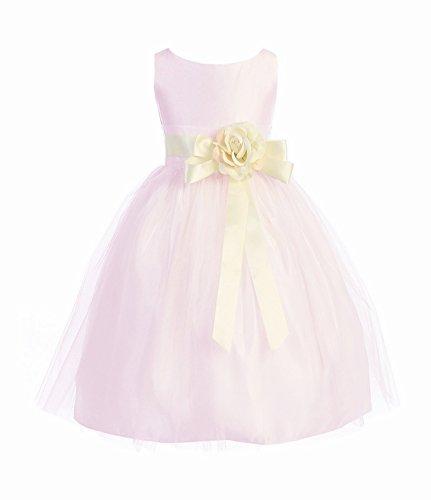Sweet kids Girls Vintage Satin Tulle Special Occasion  Flower- 4 - Pink