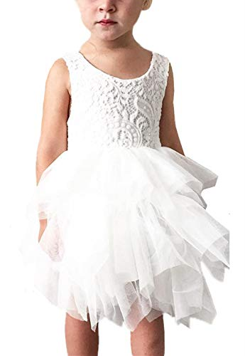 2Bunnies Girl Peony Lace Back A-Line Tiered Tutu Tulle Flower Girl Dress (No Applique White, 4T)