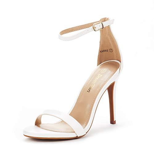 DREAM PAIRS Women's Karrie White Pu High Stiletto Pump Heel Sandals Size 11 B(M) US