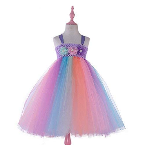 Candy Rainbow Princess Girls Unicorn Tutu Dress with Headband Baby Dress Up Costume for Birthday Dance Wedding Party